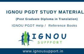 IGNOU PGDT Study Material