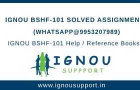 IGNOU BSHF-101 Solved Assignments