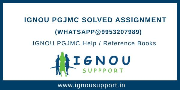 IGNOU PGJMC Solved Assignments jan-july